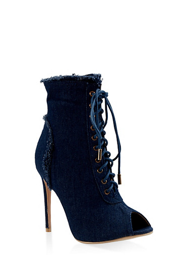 Lace Up Peep Toe High Heel Booties,BLUE DENIM,large