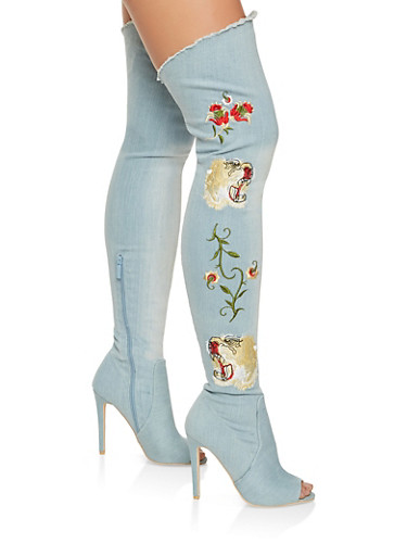 Embroidered Denim Peep Toe Over the Knee Boots,LIGHT WASH,large