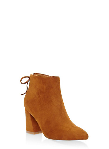 Tie Back Booties,CAMEL,large