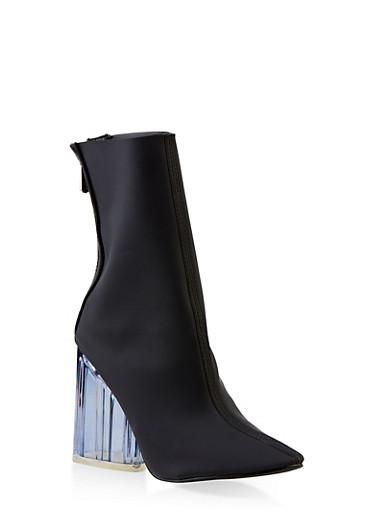 Lucite Block Heel Booties,BLACK,large