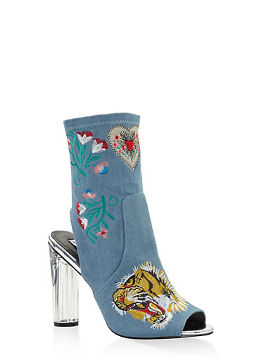 Embroidered Cut Out High Heel Booties,DENIM,large