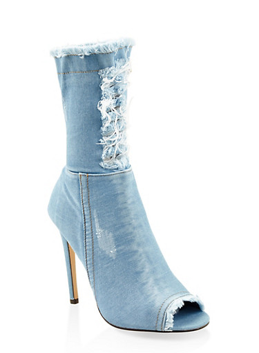 Denim High Heel Booties,DENIM,large