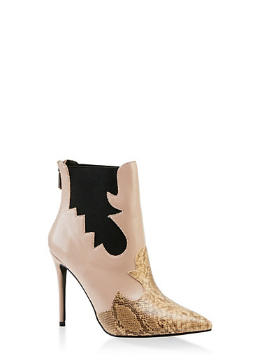 Two Tone Pointed Toe High Heel Booties,NUDE,large
