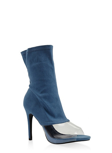 Clear Panel High Heel Booties,DENIM,large