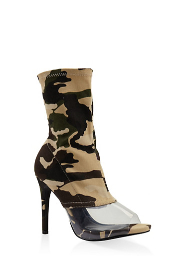 Clear Panel High Heel Booties,CAMOUFLAGE,large