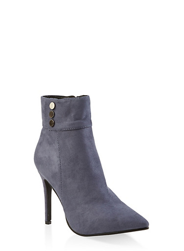 Studded Detail High Heel Booties,NAVY,large