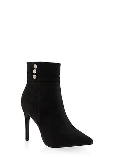 Studded Detail High Heel Booties,BLACK SUEDE,large