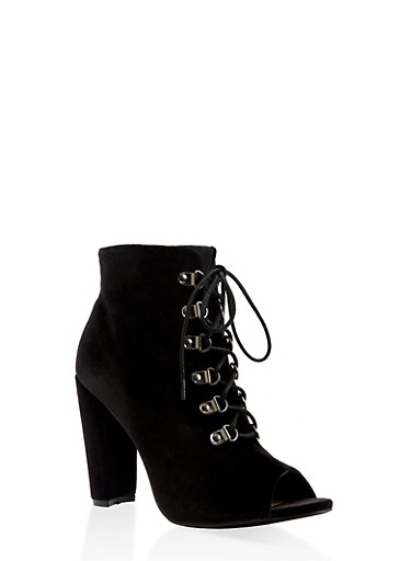 Lace Up High Heel Booties,BLACK,large
