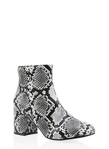 Printed Block Heel Booties,BLACK/WHITE,large