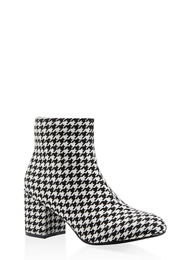 Printed Block Heel Booties,BLACK MULTI,large