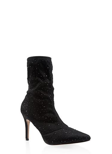 Rhinestone Studded Knit High Heel Booties,BLACK,large