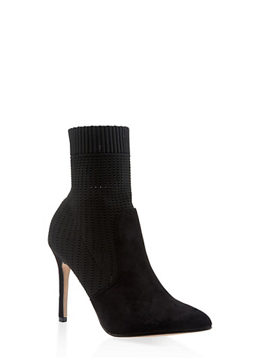Pointed Toe Knit High Heel Booties,BLACK,large