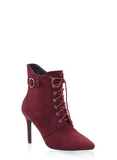 Lace Up High Heel Booties,WINE,large