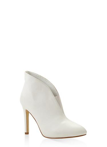 Elastic Gore Detail High Heel Booties,WHITE,large