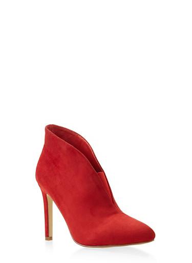 Elastic Gore Detail High Heel Booties,RED,large