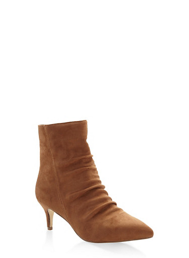 Ruched Pointed Toe Booties,CAMEL,large