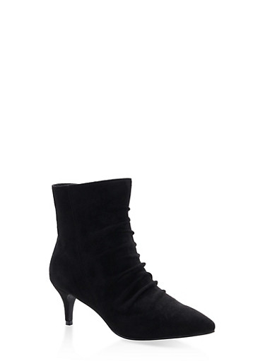 Ruched Pointed Toe Booties,BLACK SUEDE,large