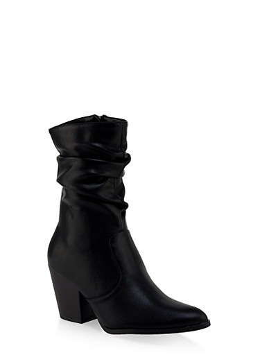 Scrunched Pointed Toe Booties,BLACK,large