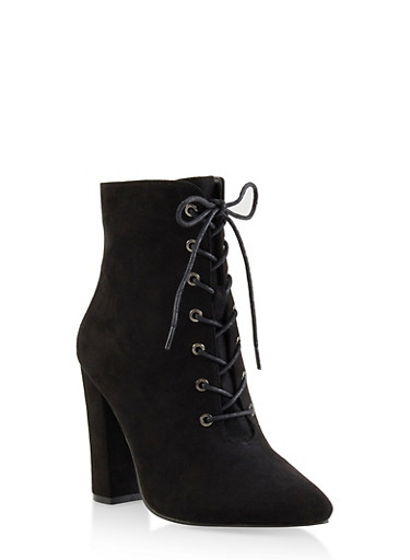Pointed Toe Lace Up High Heel Booties,BLACK SUEDE,large