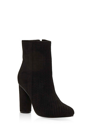 Perforated High Heel Booties,BLACK F/S,large