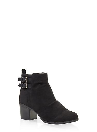 Ruched Buckle Booties,BLACK,large