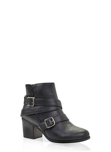 Buckle Strap Block Heel Booties,BLACK,large