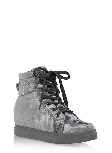 Crushed Velvet High Top Wedge Sneakers,GRAY VELVET,large