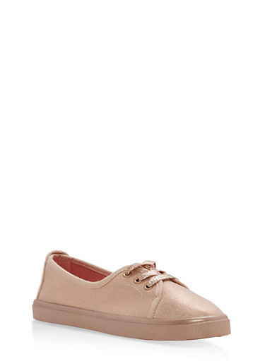 Lace Up Skimmer Sneakers,BRONZE,large