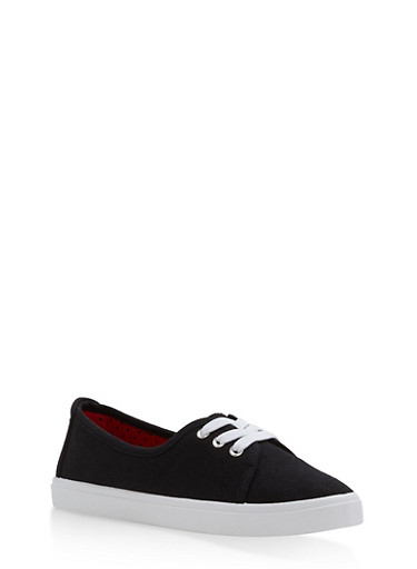Lace Up Canvas Skimmer Sneakers,BLACK,large