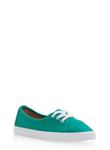Lace Up Canvas Skimmer Sneakers,GREEN,large