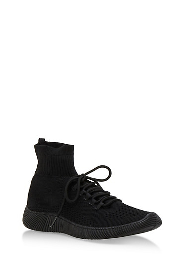 Tubular Sock Knit High Top Sneakers,BLACK KNIT,large