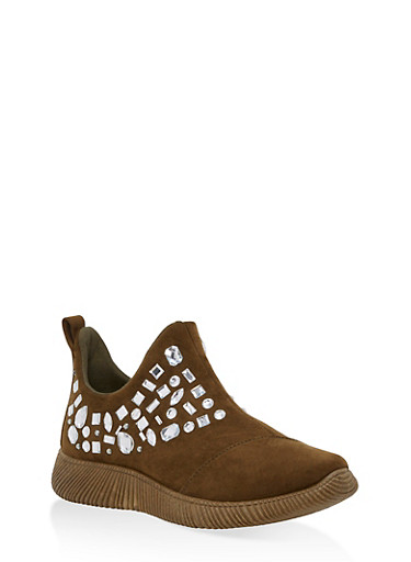 Rhinestone Side Zip Sneakers,OLIVE F/S,large