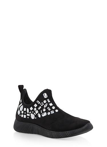 Rhinestone Side Zip Sneakers,BLACK F/S,large