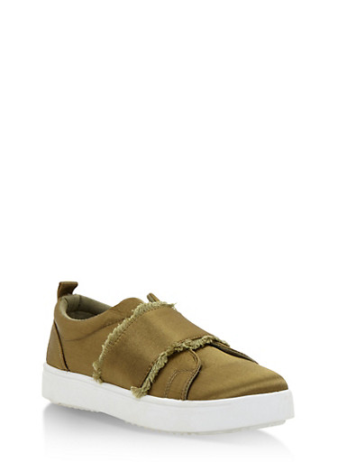 Satin Slip On Sneakers with Frayed Trim,OLIVE SATIN,large