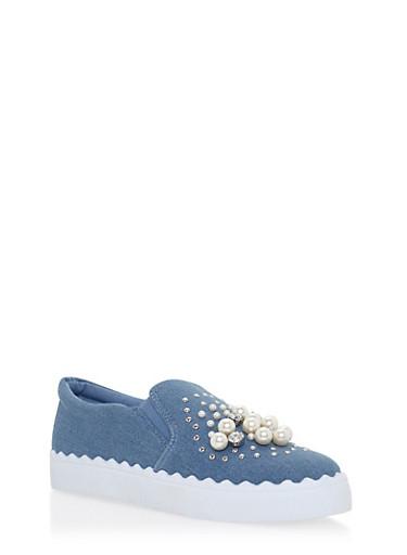 Faux Pearl Rhinestone Studded Slide On Sneakers,BLUE DENIM,large