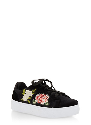 Floral Patches Lace Up Sneakers,BLACK VLT,large