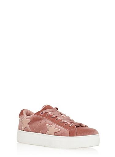 Velvet Star Lace Up Sneakers,MAUVE VLT,large