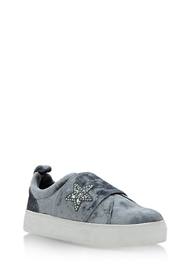 Slip On Sneakers with Rhinestone Star,GRAY VLT,large