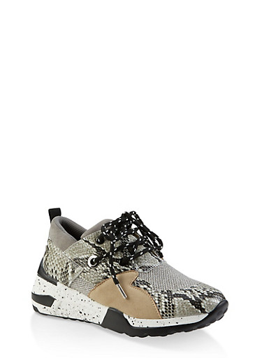 Speckled Sole Lace Up Sneakers,GRAY,large