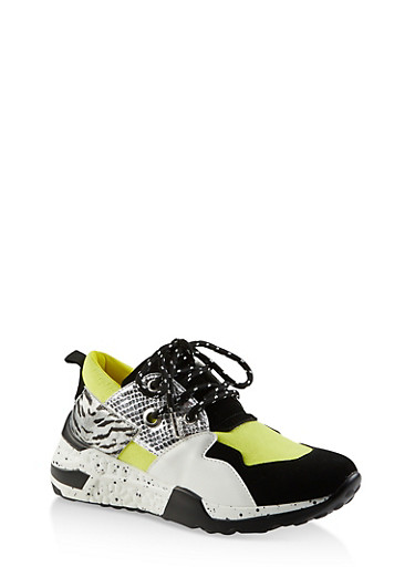 Speckled Sole Lace Up Sneakers,YELLOW,large