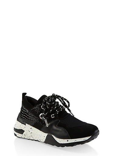 Speckled Sole Lace Up Sneakers,BLACK MULTI,large