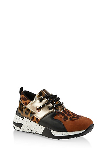 Speckled Sole Lace Up Sneakers,LEOPARD PRINT,large