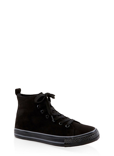 Lace Up High Top Sneakers,BLACK SUEDE,large