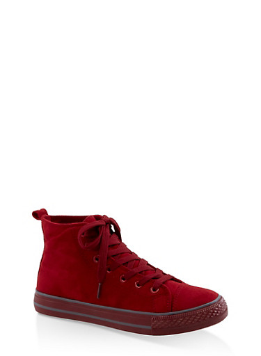 Lace Up High Top Sneakers,RED S,large