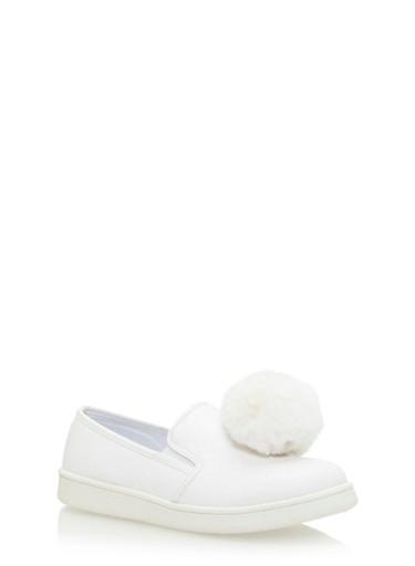 Pom Pom Slip On Sneakers,WHITE,large