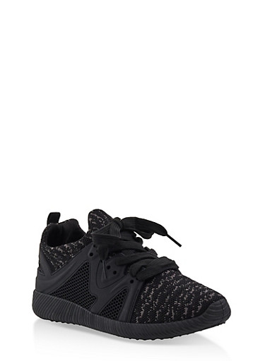 Knit Lace Up Sneakers | 3114029916222,BLACK,large