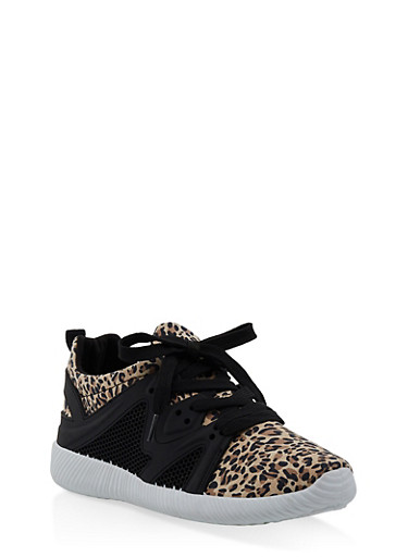 Knit Lace Up Sneakers | 3114029916222,CAMEL,large