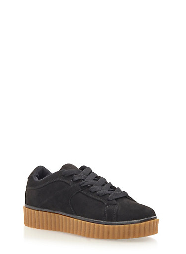 Faux Suede Creepers,BLACK,large