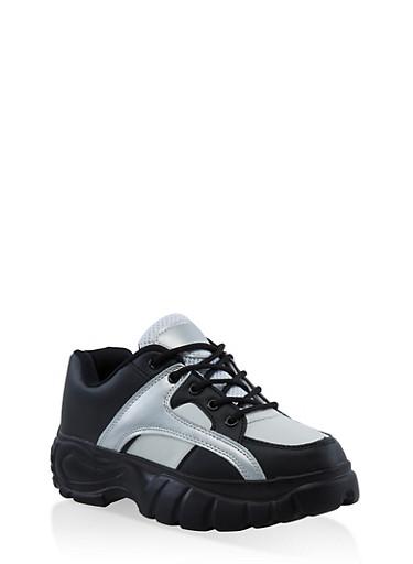 Platform Lace Up Sneakers,BLACK,large