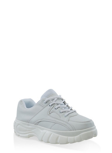 Platform Lace Up Sneakers,WHITE,large